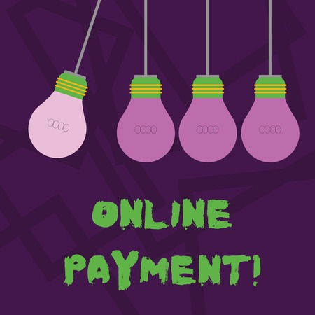 Conceptual hand writing showing Online Payment. Concept meaning Internetbased method of processing economic transactions Color Pendant Bulb Hanging with Different Shade Lightbulb Banco de Imagens