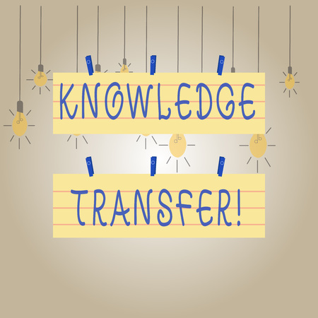 Writing note showing Knowledge Transfer. Business concept for sharing or disseminating of knowledge and experience Strip Size Lined Paper Sheet Hanging Using Blue Clothespin