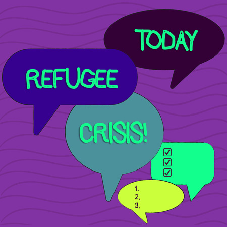 Conceptual hand writing showing Refugee Crisis. Concept meaning refer to movements of large groups of displaced showing Speech Bubble in Different Sizes and Shade Group Discussion