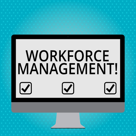 Handwriting text Workforce Management. Conceptual photo use to optimize the productivity of its employees Blank White Computer Monitor WideScreen Mounted on a Stand for Technology
