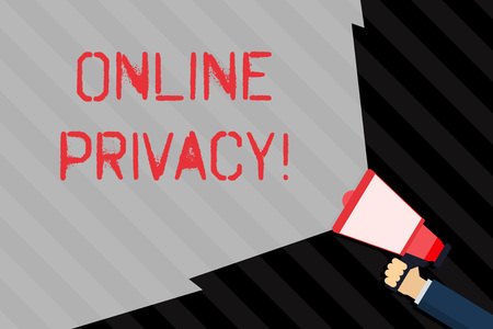 Handwriting text writing Online Privacy. Conceptual photo involves the control of what information you reveal online Hand Holding Megaphone with Blank Wide Beam for Extending the Volume Range Stock Photo