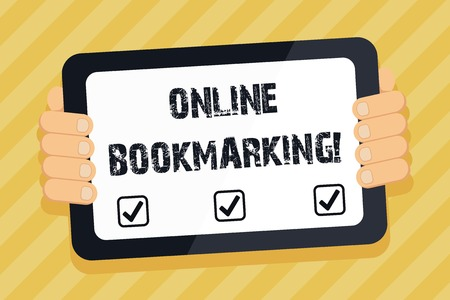 Text sign showing Online Bookmarking. Business photo text used to save a URL address for future reference Color Tablet Smartphone with Blank Screen Handheld from the Back of Gadget Stok Fotoğraf