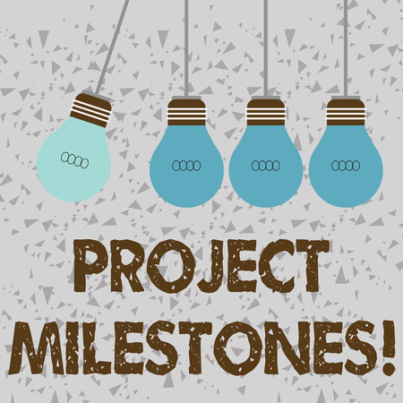 Word writing text Project Milestones. Business photo showcasing duration that shows an important achievement in a project Color Incandescent Pendant Bulb Hanging with One Different Shade Lightbulb