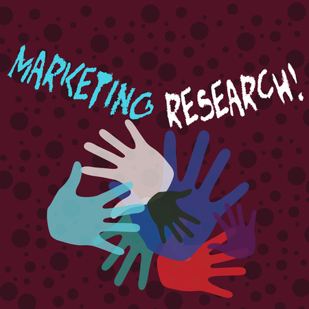 Handwriting text writing Marketing Research. Conceptual photo process of determining the viability of a new service Color Hand Marks of Different Sizes Overlapping for Teamwork and Creativity Фото со стока