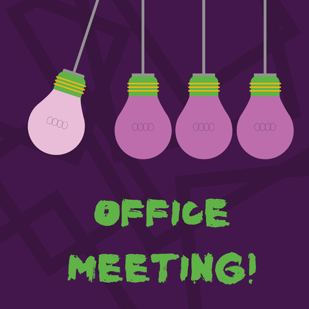 Conceptual hand writing showing Office Meeting. Concept meaning Colleagues come together to discuss issues or things Color Pendant Bulb Hanging with Different Shade Lightbulb