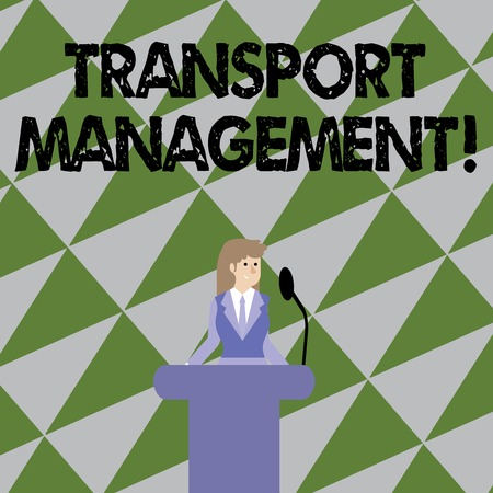 Text sign showing Transport Management. Business photo showcasing analysisaging aspect of vehicle maintenance and operations Businesswoman Standing Behind Podium Rostrum Speaking on Wireless Microphone