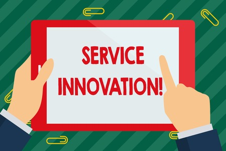 Word writing text Service Innovation. Business photo showcasing changing the way you serve better your customers Businessman Hand Holding, Pointing and Touching Colorful Tablet Blank Screen