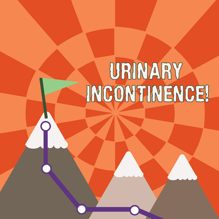 Text sign showing Urinary Incontinence. Business photo showcasing uncontrolled leakage of urine Loss of bladder control Three Mountains with Hiking Trail and White Snowy Top with Flag on One Peak Фото со стока