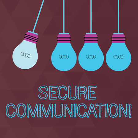 Conceptual hand writing showing Secure Communication. Concept meaning preventing unauthorized interceptors from accessing Color Pendant Bulb Hanging with One Different Shade Lightbulb