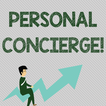 Text sign showing Personal Concierge. Business photo text someone who will make arrangements or run errands Businessman with Eyeglasses Riding Crooked Color Arrow Pointing Going Up Banco de Imagens