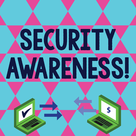 Word writing text Security Awareness. Business photo showcasing educating employees about the computer security Exchange Arrow Icons Between Two Laptop with Currency Sign and Check Icons