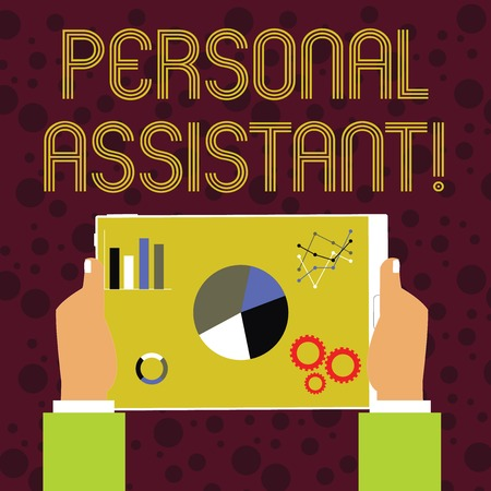 Word writing text Personal Assistant. Business photo showcasing administrative assistant working exclusively for a demonstrating Hands Holding Tablet with Search Engine Optimization Driver Icons on Screen