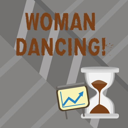 Word writing text Woanalysis Dancing. Business photo showcasing confident woanalysis that dances gracefully and professionally Successful Growth Chart with Arrow Going Up and Hourglass with Sand Sliding