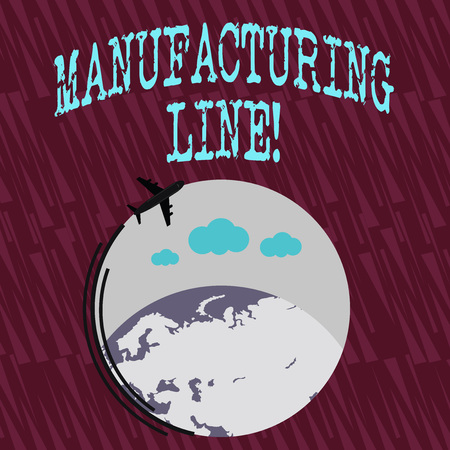 Text sign showing Manufacturing Line. Business photo text set of sequential operations established in a factory Airplane with Moving Icon Flying Around Colorful Globe and Blank Text Space Reklamní fotografie