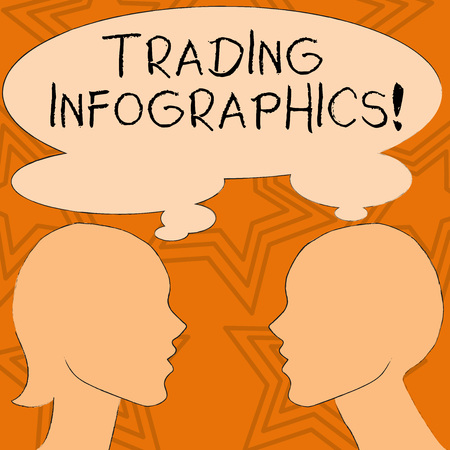 Writing note showing Trading Infographics. Business concept for visual representation of trade information or data Silhouette Sideview Profile of Man and Woman Thought Bubble Stok Fotoğraf