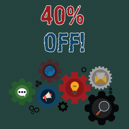 Writing note showing 40 Percent Off. Business concept for 40 percent reduction on the original price of a product Set of Global Online Social Networking Icons Cog Wheel Gear