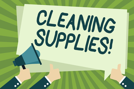 Handwriting text writing Cleaning Supplies. Conceptual photo substances usually liquids used to remove dirt and dust Hand Holding Megaphone and Other Two Gesturing Thumbs Up with Text Balloon