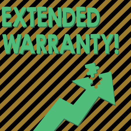 Conceptual hand writing showing Extended Warranty. Concept meaning contract which gives a prolonged warranty to consumers Arrow Pointing Up with Detached Part Jigsaw Puzzle Piece