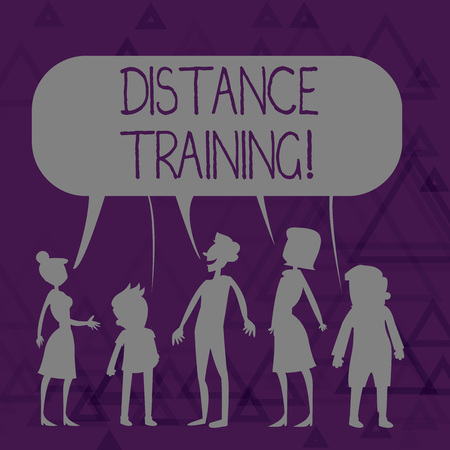 Writing note showing Distance Training. Business concept for learning remotely without being present at school Figure of People Talking and Sharing Colorful Speech Bubble