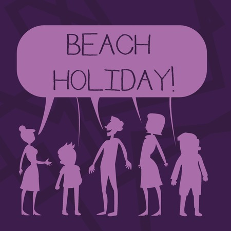 Text sign showing Beach Holiday. Business photo showcasing Vacations in which one basically just sunbathes in the beach Silhouette Figure of People Talking and Sharing One Colorful Speech Bubble Stock fotó