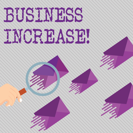 Conceptual hand writing showing Business Increase. Concept meaning improving some measure of an enterprise s is success Magnifying Glass on Color Envelope and others has Same Shade Banque d'images