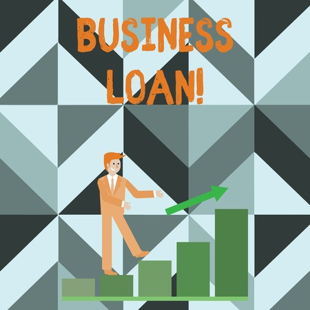 Writing note showing Business Loan. Business concept for Loans provided to small businesses for various purposes Smiling Businessman Climbing Bar Chart Following an Arrow Up