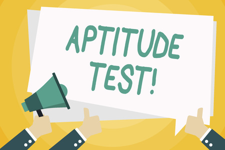 Text sign showing Aptitude Test. Business photo text designed to determine a demonstrating s is ability in a particular skill Hand Holding Megaphone and Other Two Gesturing Thumbs Up with Text Balloon