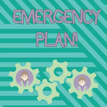 Writing note showing Emergency Plan. Business concept for actions developed to mitigate damage of potential events Two Business People Inside Cog Wheel Gear for Teamwork Event