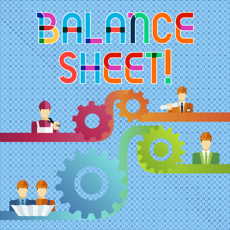 Handwriting text Balance Sheet. Conceptual photo financial statement that report a company s is assets liabilities Cog Gear Setting Icon Connecting Men from Different Professional Character