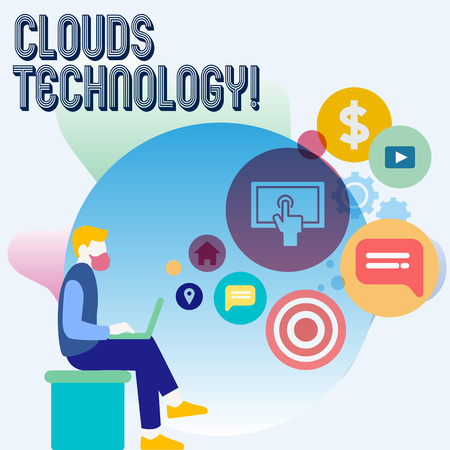 Word writing text Clouds Technology. Business photo showcasing resources aretrieved from the internet through webbased Man Sitting Down with Laptop on his Lap and SEO Driver Icons on Blank Space