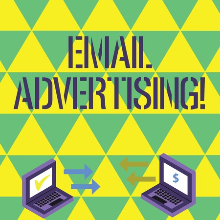 Handwriting text writing Email Advertising. Conceptual photo act of sending a commercial message to target market Exchange Arrow Icons Between Two Laptop with Currency Sign and Check Icons