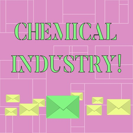 Conceptual hand writing showing Chemical Industry. Concept meaning comprises the companies that produce industrial chemicals Color Envelopes in Different Sizes with Big one in Middle