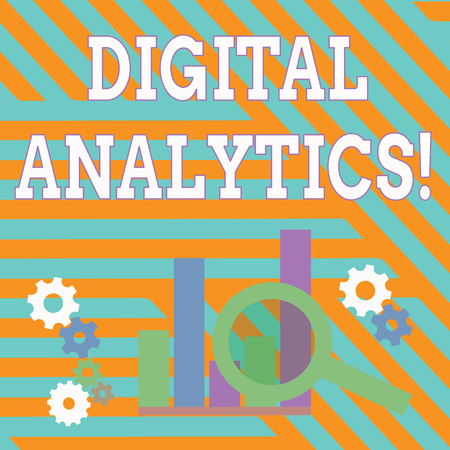 Text sign showing Digital Analytics. Business photo showcasing the analysis of qualitative and quantitative data Magnifying Glass Over Bar Column Chart beside Cog Wheel Gears for Analysis Banque d'images