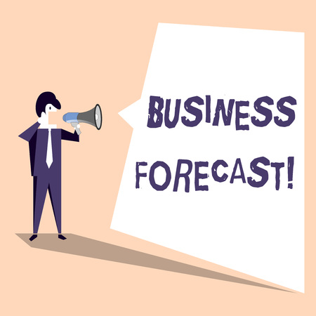 Handwriting text Business Forecast. Conceptual photo estimate or prediction of future developments in business Businessman Shouting on Megaphone and Blank White Uneven Shape Speech Bubble