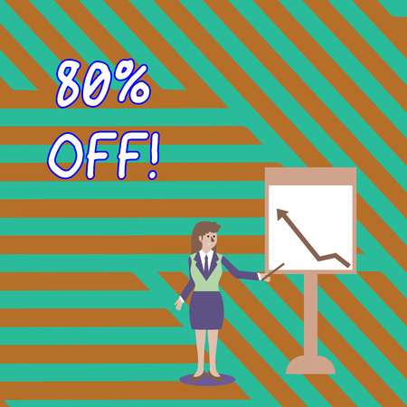 Word writing text 80 Percent Off. Business photo showcasing 80 percent reduction on the original price of a product Businesswoman Holding Stick Pointing to Chart of Arrow Upward on Whiteboard Stock fotó