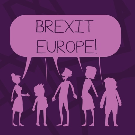 Text sign showing Brexit Europe. Business photo showcasing possibility of Britain withdrawing from the European Union Silhouette Figure of People Talking and Sharing One Colorful Speech Bubble Фото со стока