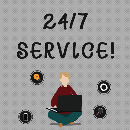 Konzeptionelle Handschrift mit 24 oder 7 Service. Konzept bedeutet Service, der jederzeit und in der Regel jeden Tag verfügbar ist. Frau sitzt mit gekreuzten Beinen auf dem Boden und durchsucht den Laptop