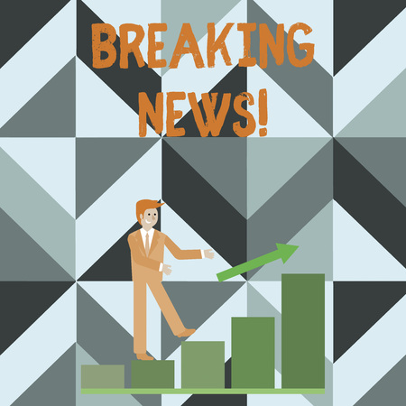 Writing note showing Breaking News. Business concept for Newly received info about an event and currently occurring Smiling Businessman Climbing Bar Chart Following an Arrow Up