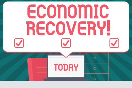 Handwriting text writing Economic Recovery. Conceptual photo rise of business activity signaling the end of a recession Blank Huge Speech Bubble Pointing to White Laptop Screen in Workspace Idea Imagens