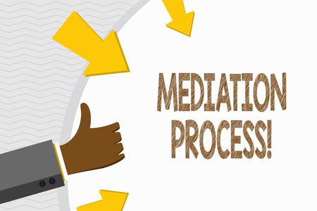 Conceptual hand writing showing Mediation Process. Concept meaning informal and flexible dispute resolution process Hand Gesturing Thumbs Up and Holding Round Shape with Arrows