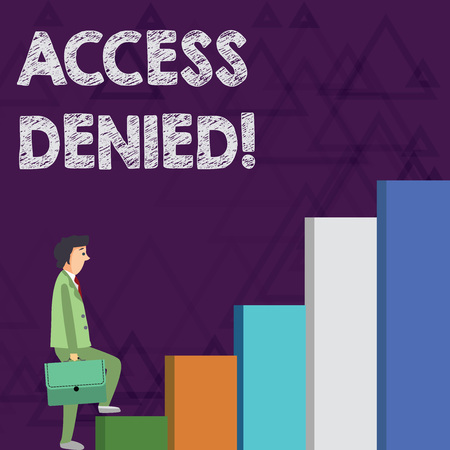 Word writing text Access Denied. Business photo showcasing error message shown when you do not have access rights Businessman Carrying a Briefcase is in Pensive Expression while Climbing Up