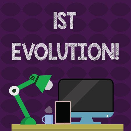 Text sign showing 1St Evolution. Business photo text Change in the genetic features of biological populations Arrangement of Workspace for Nightshift Worker with Computer,Tablet and Lamp