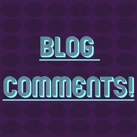 Text sign showing Blog Comments. Business photo text Space at the end of each post for a reader to leave a comment Oval Geometric Shape in Rows and Columns in Violet Monochrome Round Pattern Imagens