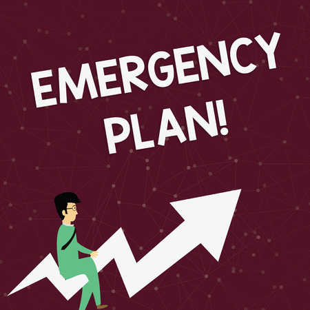 Handwriting text Emergency Plan. Conceptual photo actions developed to mitigate damage of potential events Businessman with Eyeglasses Riding Crooked Color Arrow Pointing Going Up