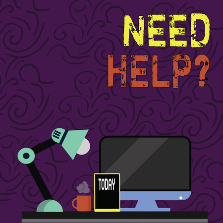 Text sign showing Need Help question. Business photo showcasing to give or provide what is necessary to accomplish a task Arrangement of Workspace for Nightshift Worker with Computer,Tablet and Lamp