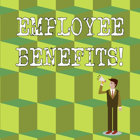 Handwriting text Employee Benefits. Conceptual photo payments made to employees beyond the scope of wages Businessman Looking Up, Holding and Talking on Megaphone with Volume Icon 版權商用圖片 - 122287269