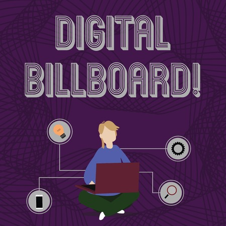 Word writing text Digital Billboard. Business photo showcasing billboard that displays digital images for advertising Woman Sitting Crossed Legs on Floor Browsing the Laptop with Technical Icons