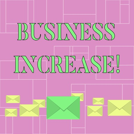 Conceptual hand writing showing Business Increase. Concept meaning improving some measure of an enterprise s is success Color Envelopes in Different Sizes with Big one in Middle