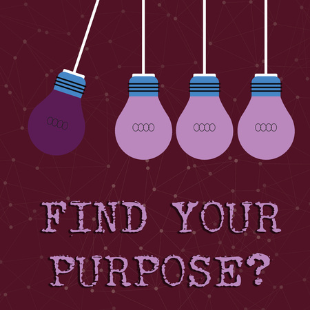 Text sign showing Find Your Purpose question. Business photo text reason for something is done or for which exists Color Incandescent Pendant Bulb Hanging with One Different Shade Lightbulb 스톡 콘텐츠