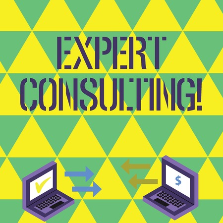 Handwriting text writing Expert Consulting. Conceptual photo providing of expert knowledge to a third party for a fee Exchange Arrow Icons Between Two Laptop with Currency Sign and Check Icons Stockfoto